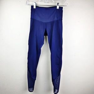 Lululemon Blue Leggings Zipper Mesh Ankle 2
